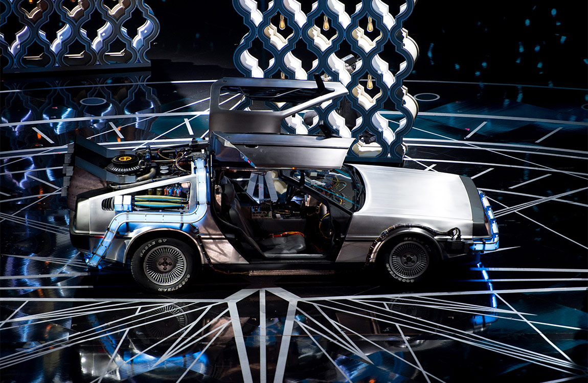 The DeLorean DMC-12 on stage during the live ABC Telecast of The 89th Oscars® at the Dolby® Theatre in Hollywood, CA on Sunday, February 26, 2017. Mark Suban / ©A.M.P.A.S.