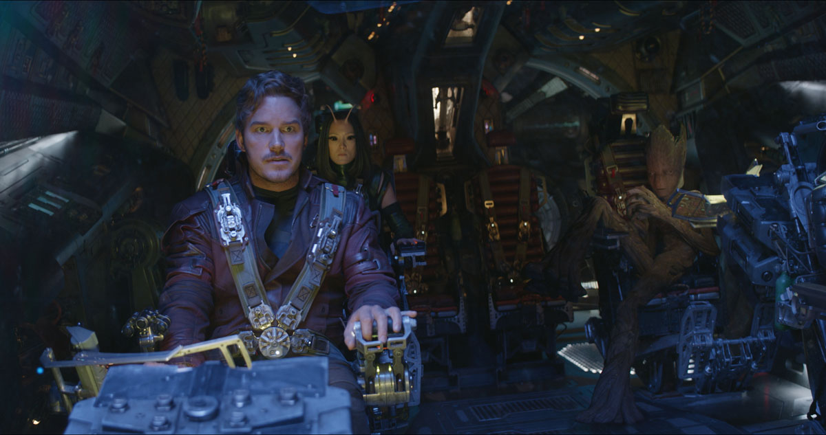 Star-Lord/Peter Quill (Chris Pratt), Mantis (Pom Klementieff) and Groot (voiced by Vin Diesel) in Marvel Studios' AVENGERS: INFINITY WAR