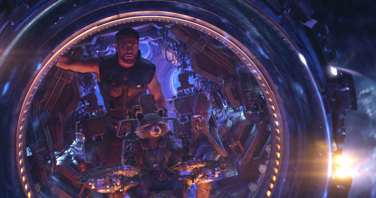Thor (Chris Hemsworth), Rocket (voiced by Bradley Cooper) and Groot (voiced by Vin Diesel) in Marvel Studios' AVENGERS: INFINITY WAR