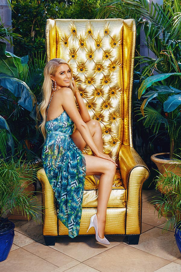 Paris Hilton in the Palm Print Mesh Maxi Dress of the boohoo x Paris Hilton Collection