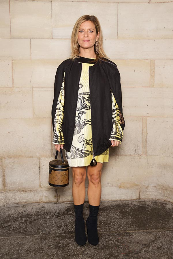 Marina Fois with a cylindrical Louis Vuitton Bag