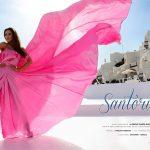 VALEUR MODEL KAROLINA in a pink gown in Santorini