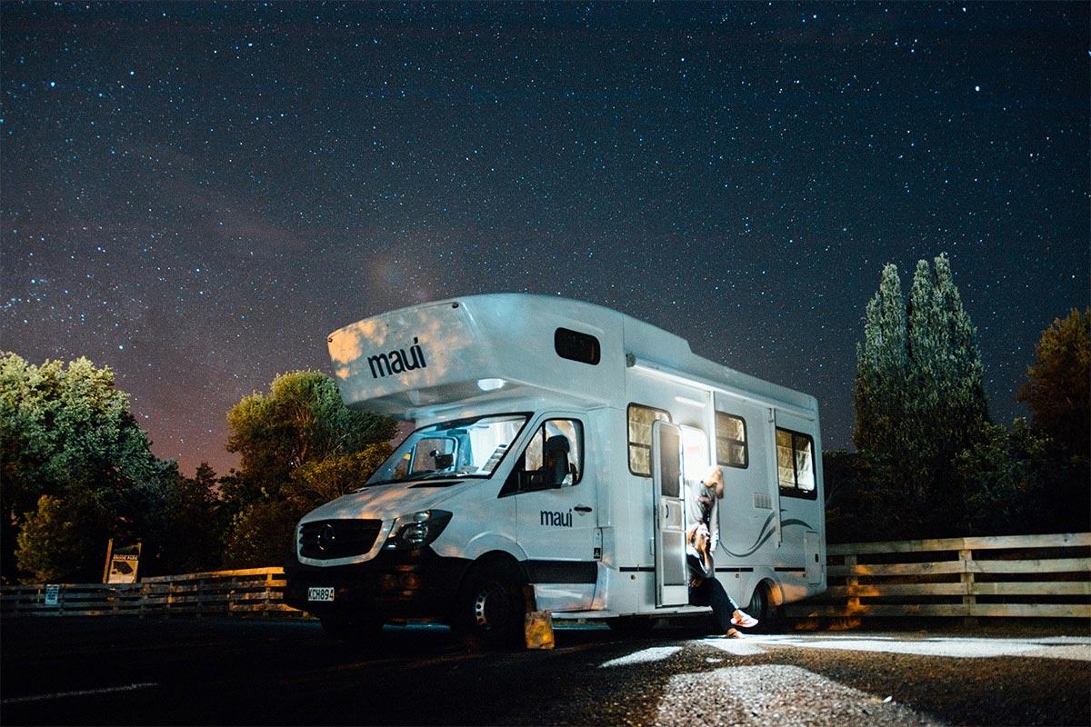 Caravan under the starry sky