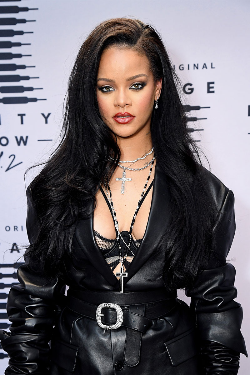 Rihanna arrives at the Savage X Fenty Show Vol. 2 in a cool leather outfit